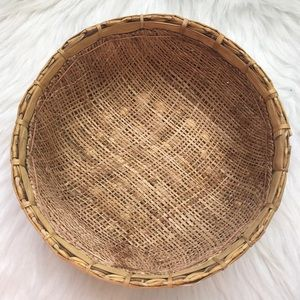 Vintage small boho wooden brown wicker basket